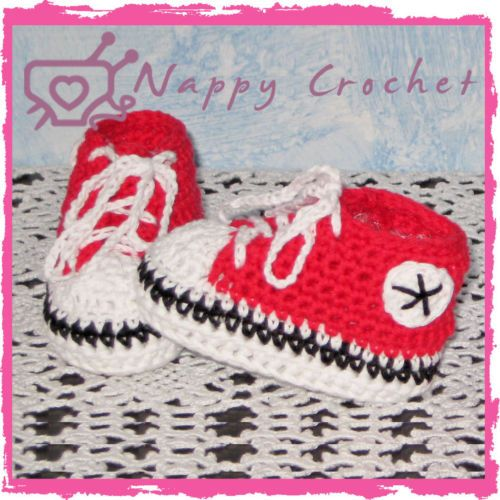 Crochet Baby Shoes Deluxe Sneakers Converse Scarpine A Uncinetto Bimbo Azzurre L033dTtFUs