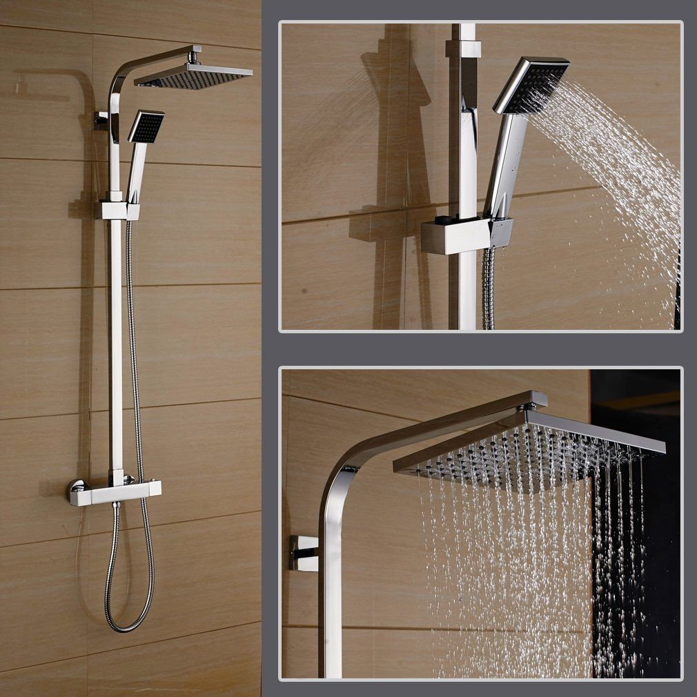 Rovate Bathroom Thermostatic Rain Mixer Shower Combo Set Wall