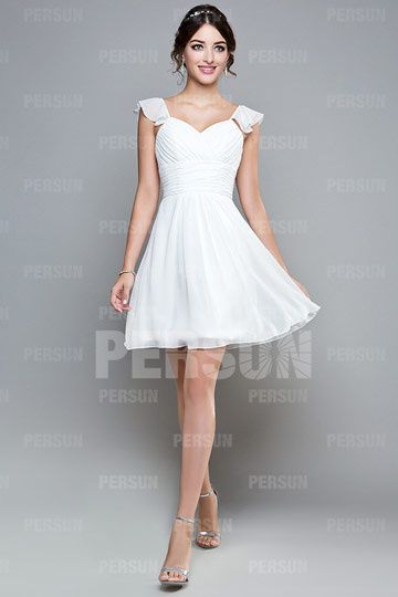 Gorgeous A-line Sweetheart Cap Sleeve Chiffon Knee Length Bridesmaid Dress