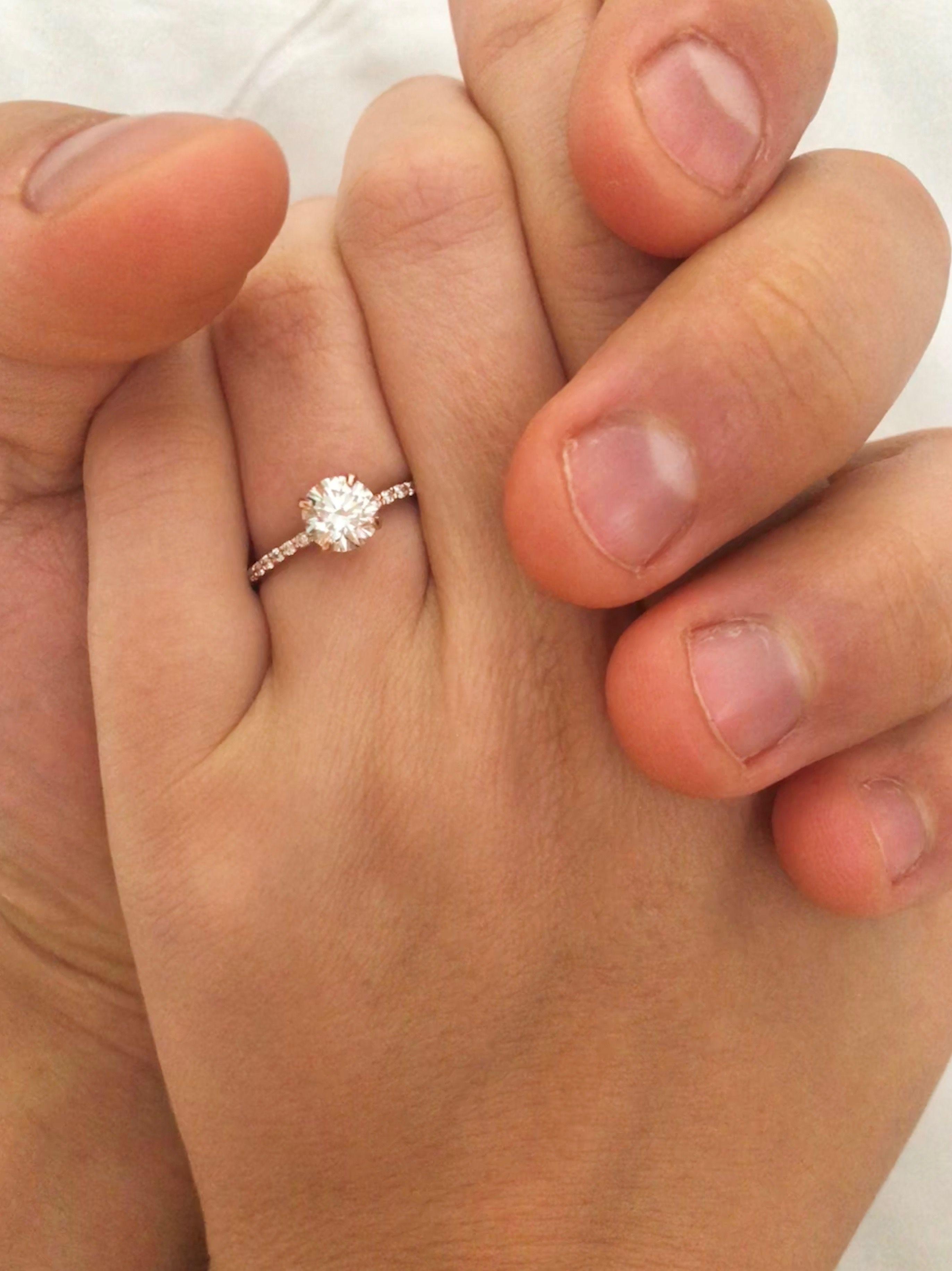 Rose Gold Pave Band 1 03 Carat Round Diamond Basically My Fiance K Flower Diamond Engagement Ring Round Diamond Engagement Rings 14k White Gold Diamond Ring