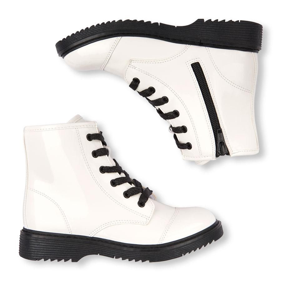 a3ab2ca9f82 Girls Lace-Up White Boots Trendy Fall Essential | shoe | PLACE in ...