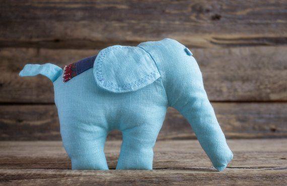 Light Blue Stuffed Elephant Soft Plush Toy Baby Nursery Decor Handmade Plushie Waldorf Toy Line Baby Nursery Decor Waldorf Toys Baby Elephant Nursery