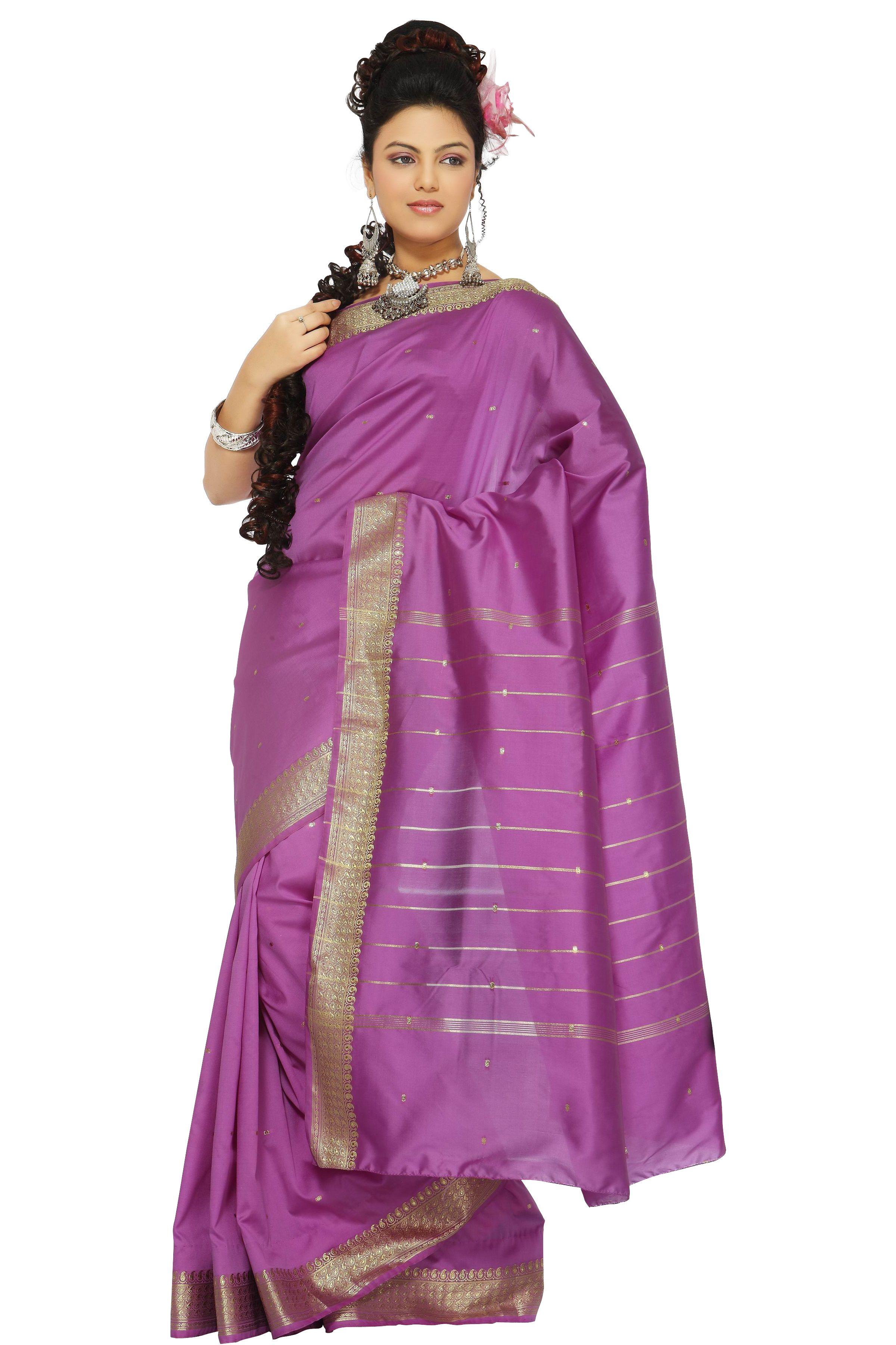 Indian Selections - Lavender Art Silk Saree Sari Fabric India Golden Border