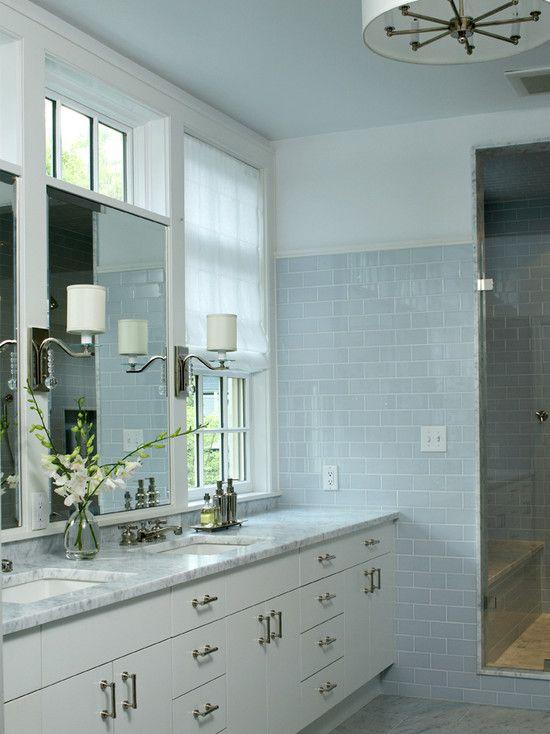 Blue Subway Tile Transitional Bathroom Lda Architects Bathroom Vanity Designs Small Bathroom Remodel Blue Subway Tile