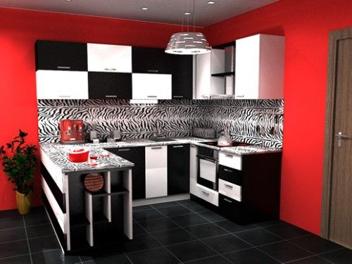 Black And White Kitchen Cabinets With Red Wall Red Kitchen Walls Beadboard Kitchen Elegant Kitchen Design