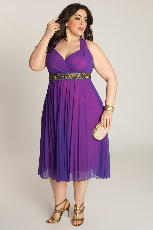 Purple Chiffon Tea-Length Plus Size Cocktail Dress | Purple ...