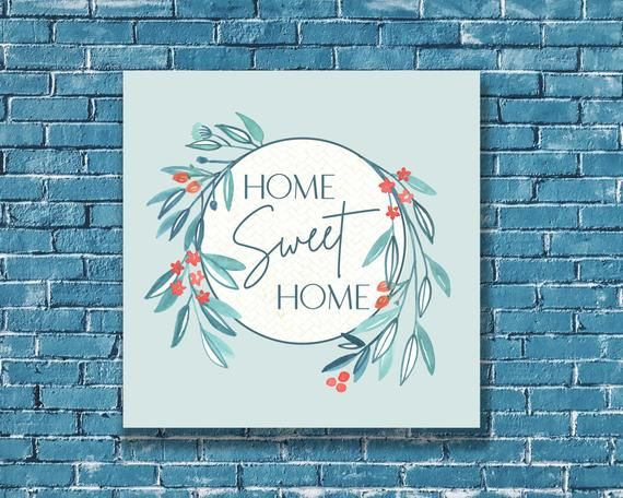 Photo of Home Sweet Home art print, printable wall decor, watercolor wreath illustration, red white and blue, shabby chic minimalist, white frame