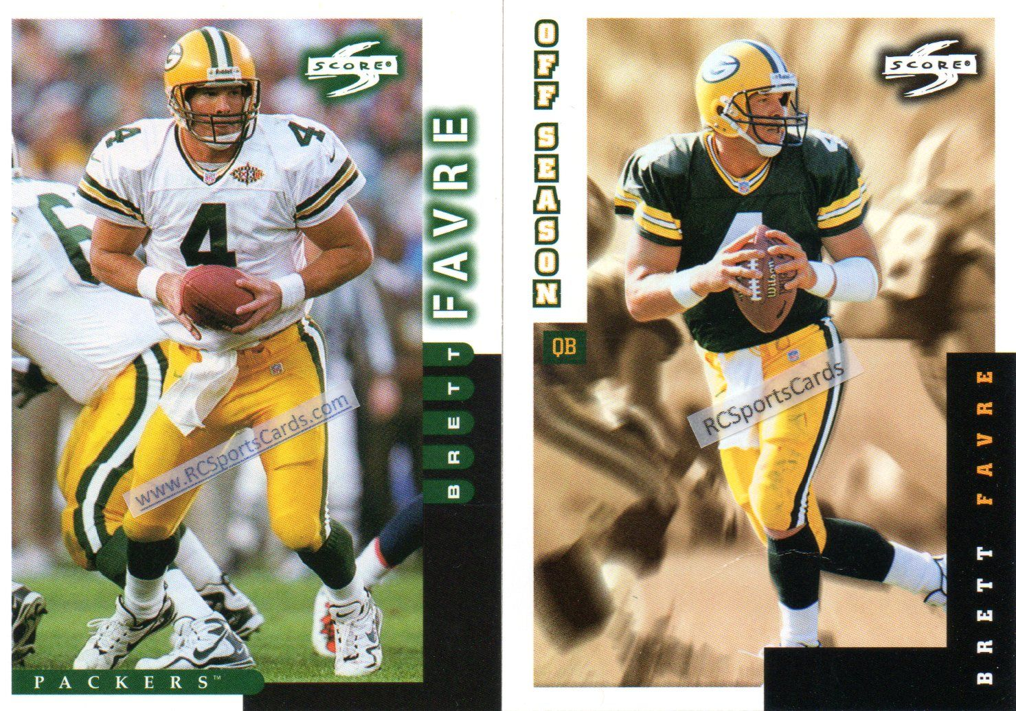 1998 Brett Favre, #Packers, 2 Score cards #66 & #255 http://www.rcsportscards.com/packers-1997---1999.html