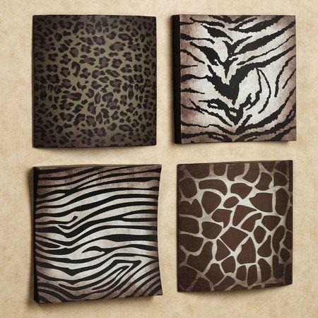 Safari Animal Prints Metal Wall Plaque Set Animal Print Decor Animal Print Rooms Animal Print Bedroom