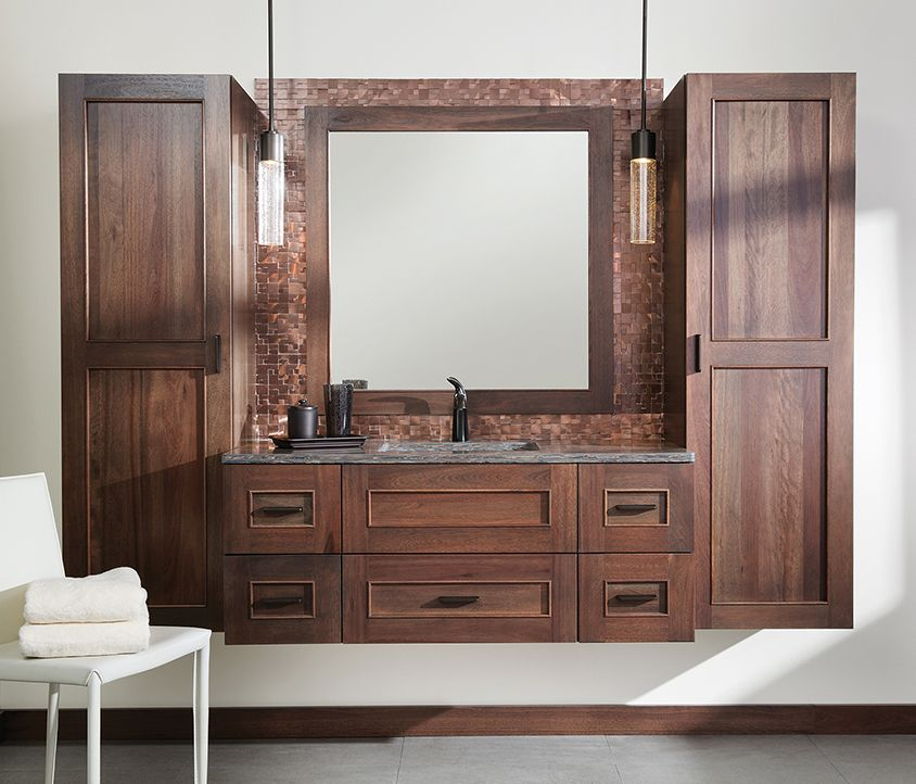 Durasupreme Brand Cabinets. Floating Vanity With Silverton Door Style In  Lyptus With Poppy Seed Finish