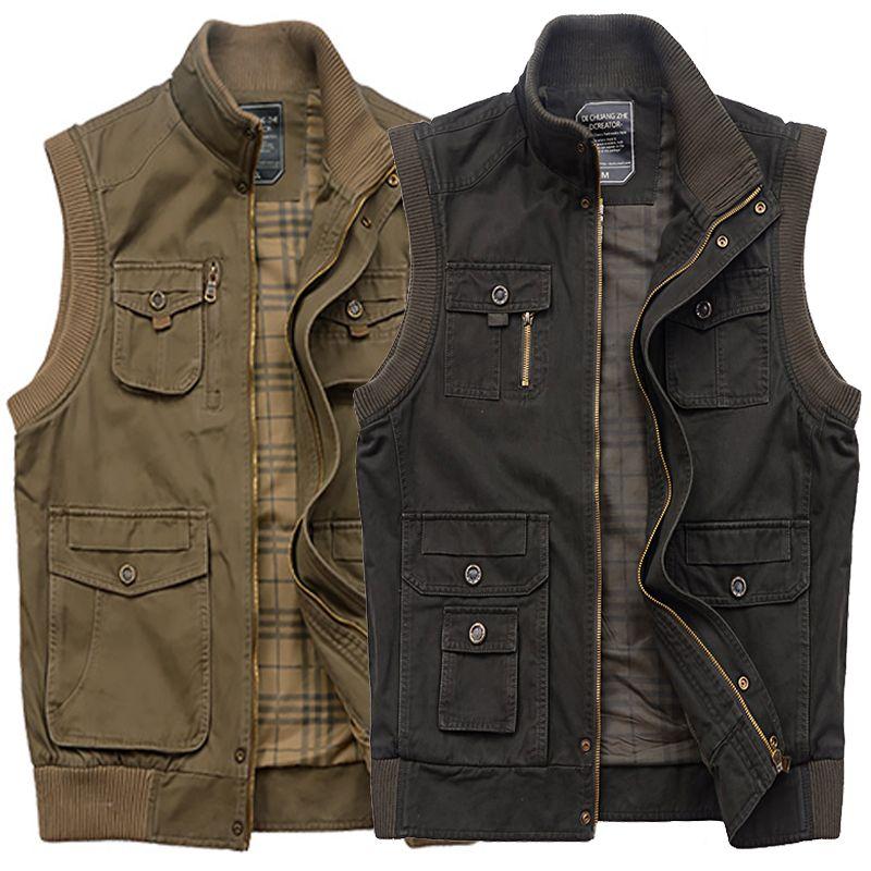 Autumn quinquagenarian men 39 s clothing multi pocket for Mens fishing vest