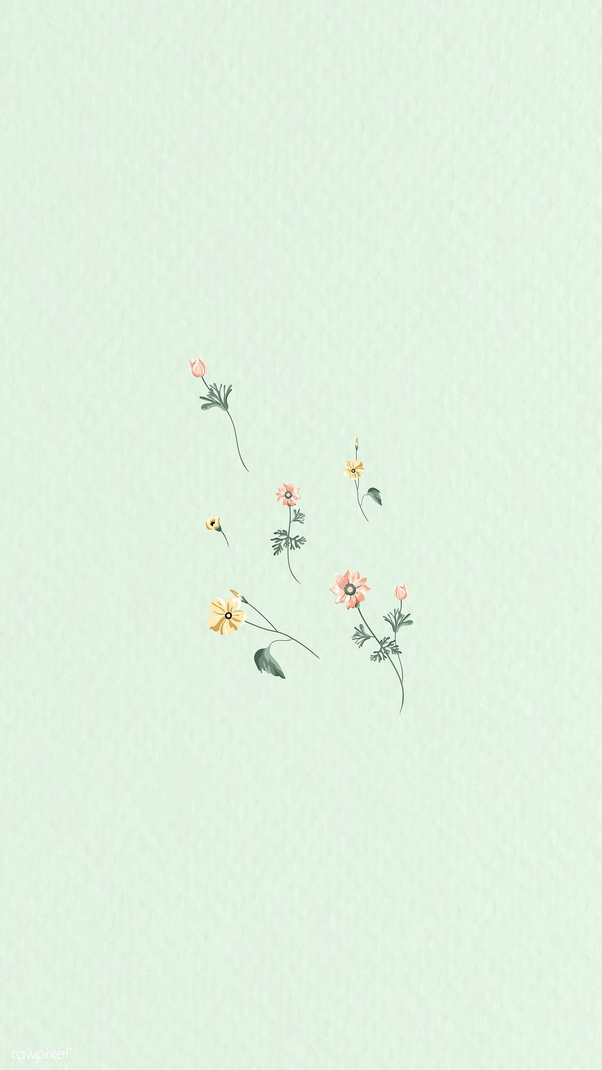 Download Premium Vector Of Colorful Flowers On A Green Background Vector Green Wallpaper Vintage Flowers Wallpaper Iphone Wallpaper Green