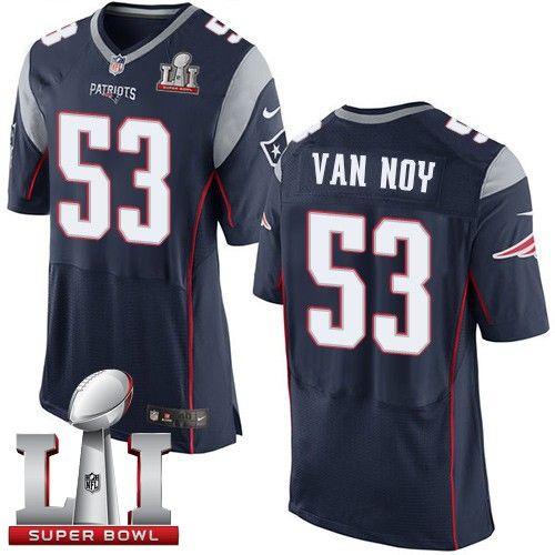 Men's Nike New England Patriots #53 Kyle Van Noy Elite Navy Blue Team Color Super Bowl LI 51 NFL Jersey