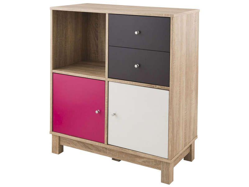 Rangement 2 portes, 2 tiroirs, 1 niche SHIRLEY - Vente de Buffet - meuble de rangement avec tiroir