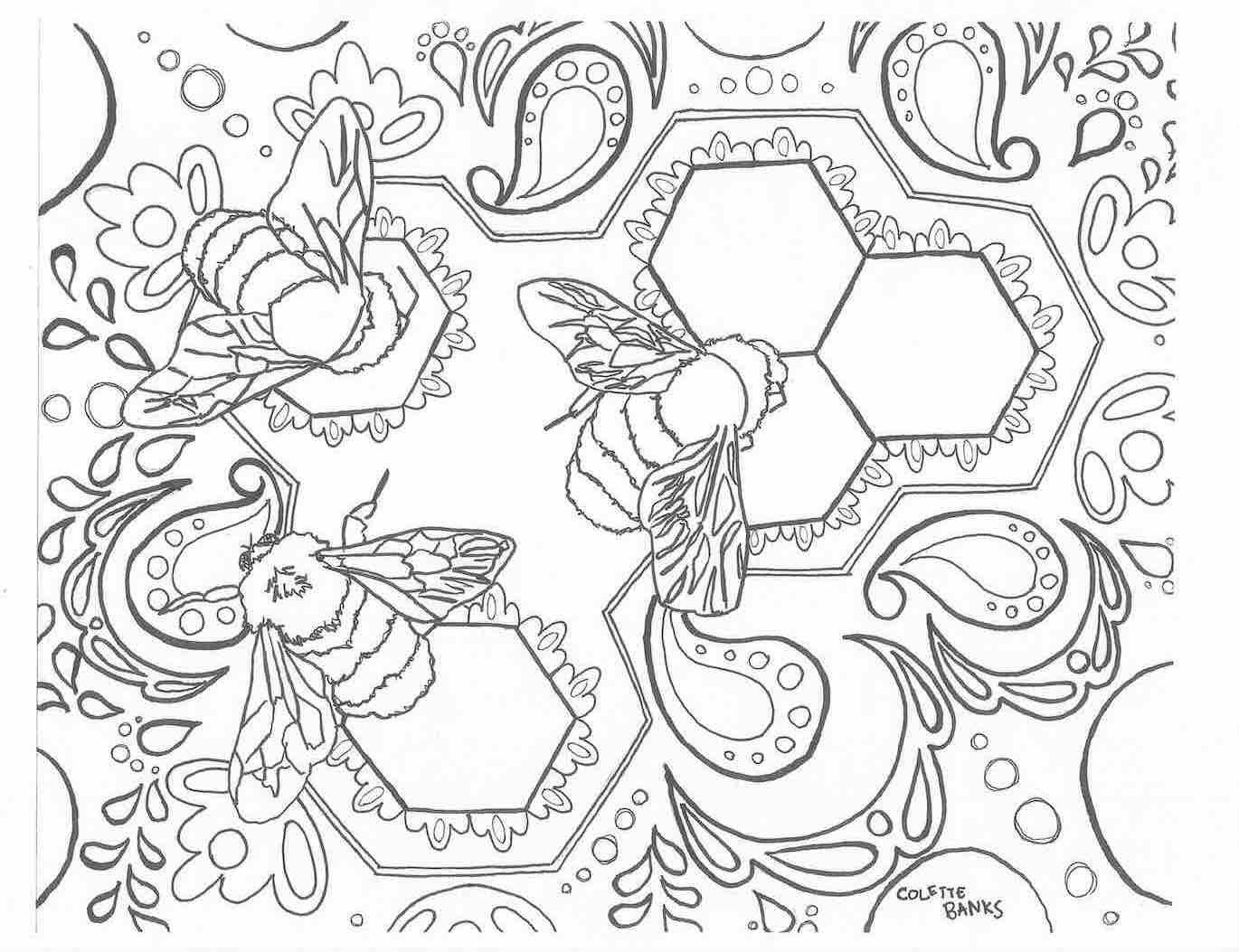 Bohemian Adult Coloring Page Bees Zentangle Aztec