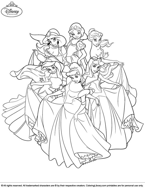 Disney Princesses Coloring Page Disney Princess Coloring Pages Princess Coloring Pages Disney Princess Colors