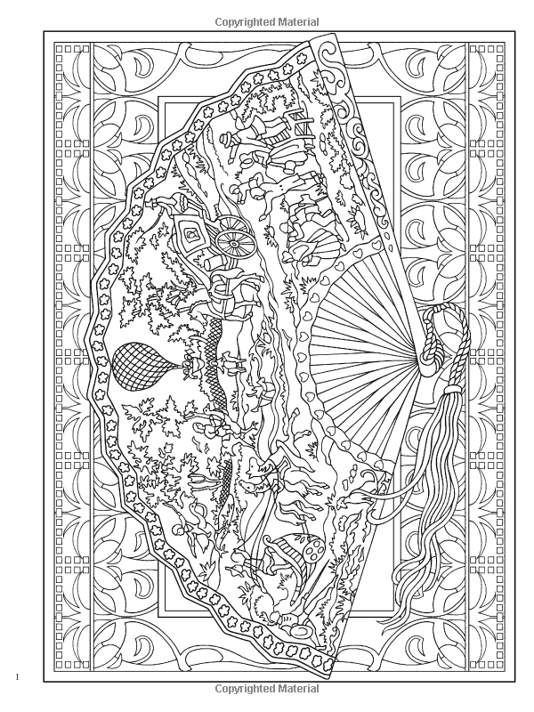 Creative Haven Vintage Hand Fans Coloring Book Creative Haven Coloring Books