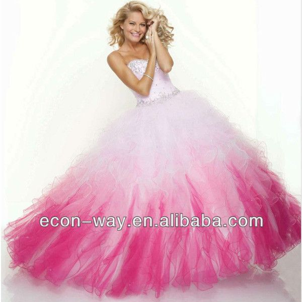 Pink and Black Puffy Prom Dresses