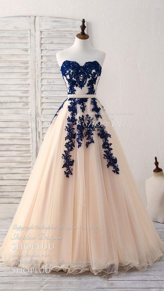 7c6cbe35c24 Elegant sweetheart tulle lace applique blue long prom dresses ...