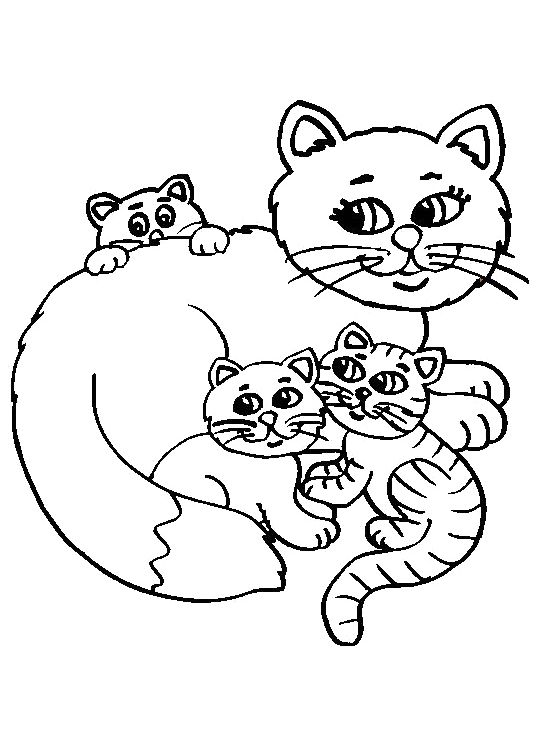 Cat Mother And Little Cat Coloring Pages Coloring Pages