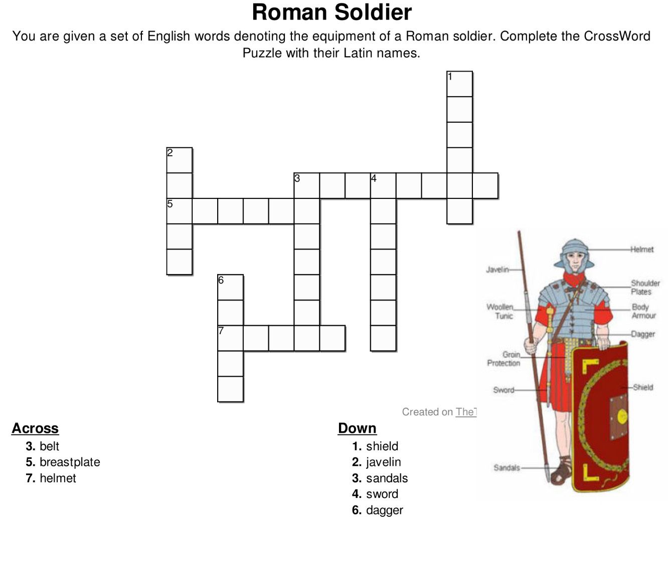 worksheet Roman Empire Worksheets crossword puzzle latin names for equipment and armor of a roman soldier http