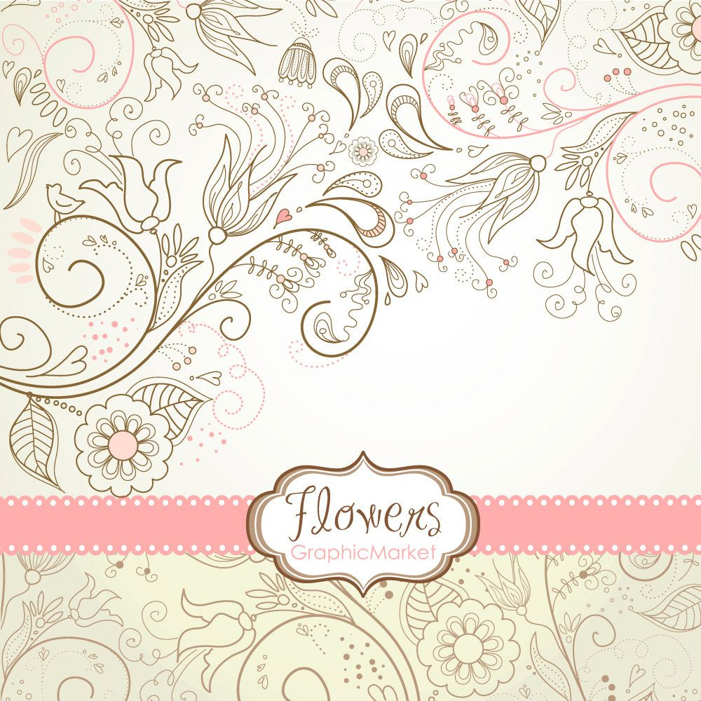 8 Flower Designs, digital paper and a floral border - Clipart for ...