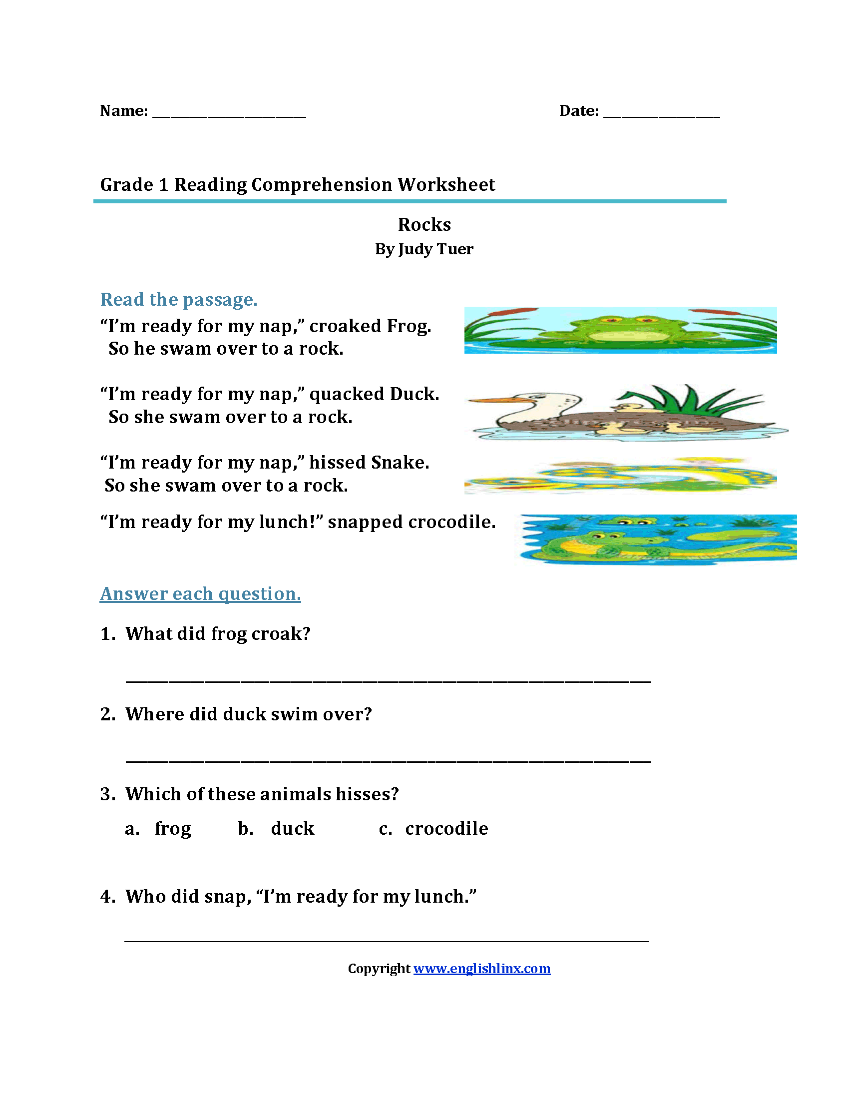 Rocks First Grade Reading Worksheets