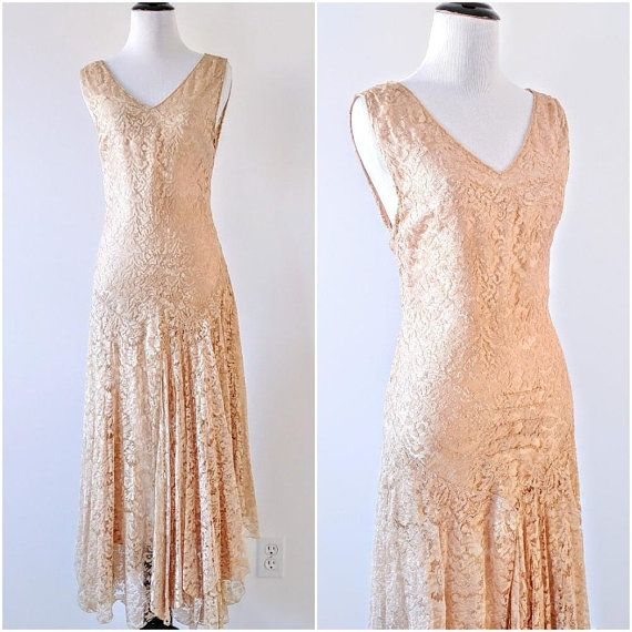 Vintage 1920's Gold Silk And Lace Dress | Vintage 1920's