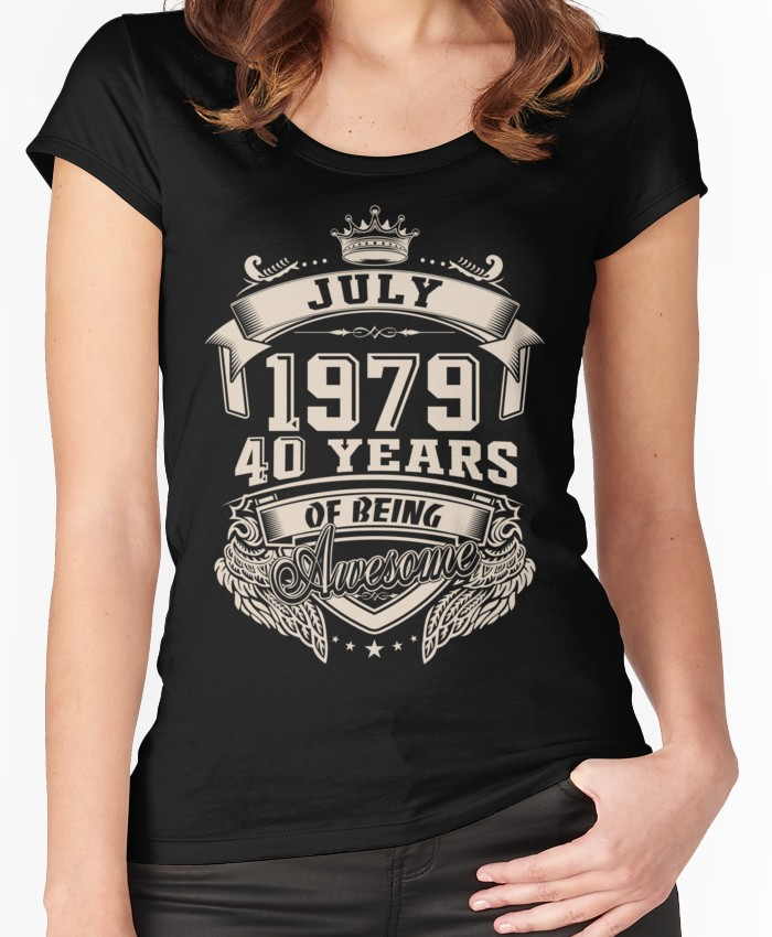 72077b4d Born in July 1979, 40 years of being awesome Women's Fitted Scoop T-Shirt