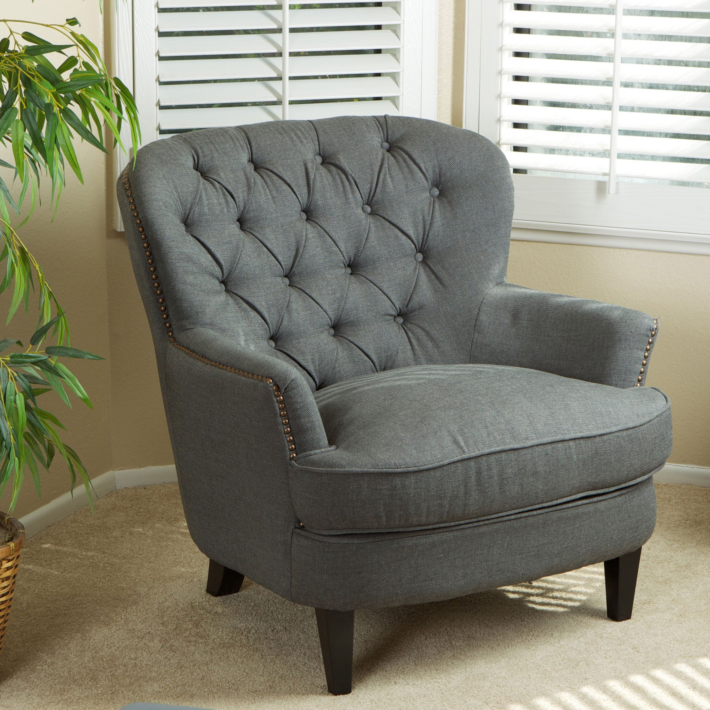 Christopher Knight Home Tafton Tufted Grey Fabric Club Chair ...