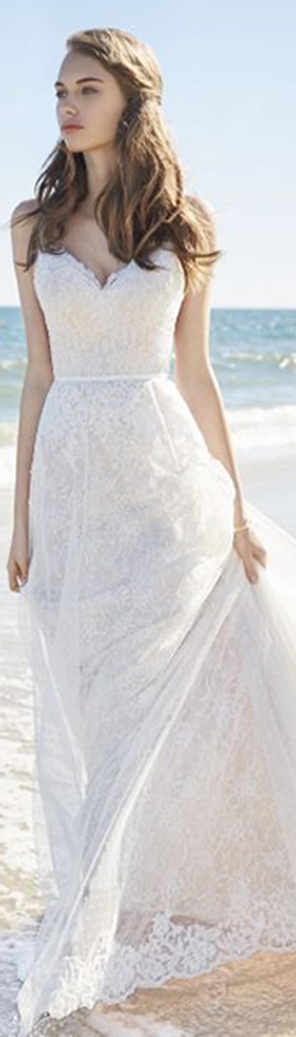 Lace spaghetti strap wedding dress  Amazing Polka Dot Tulle u Lace Spaghetti Straps ALine Wedding
