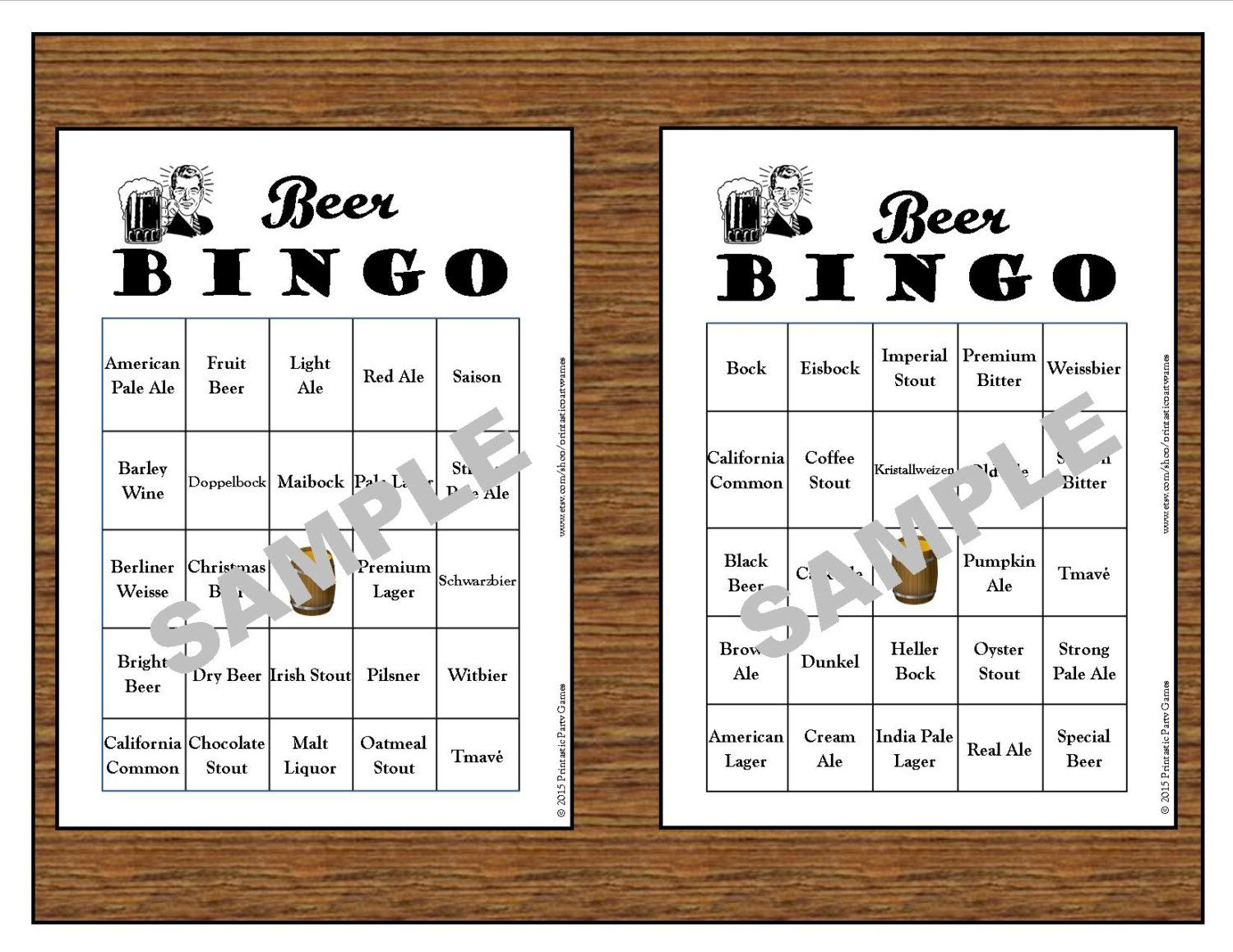 30 Printable Beer Bingo Cards Instant Download Use For