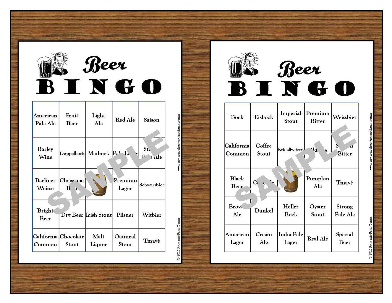 30 Printable Beer BINGO CardsInstant DownloadUse for