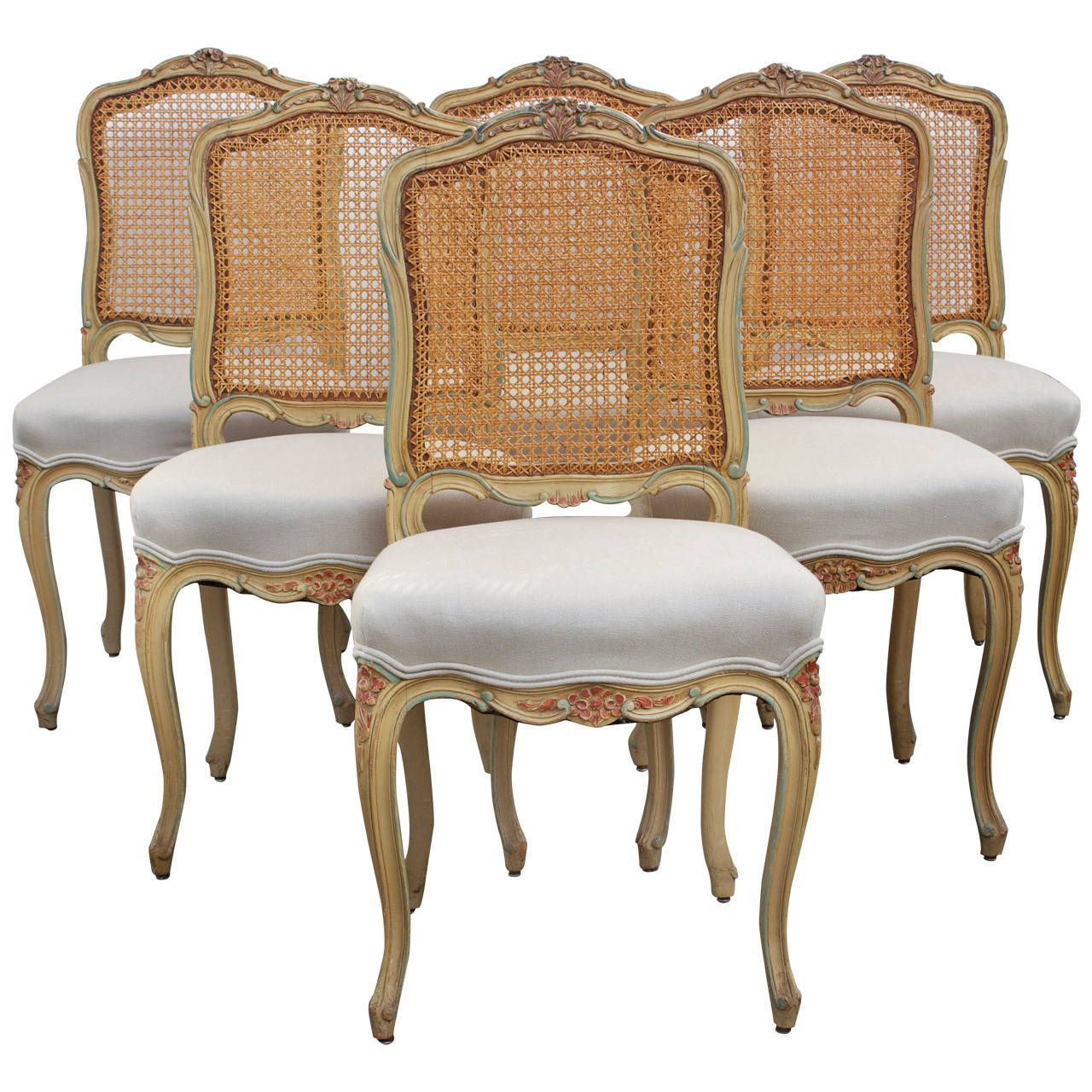 Set Of Six Louis XV Style Caned Chairs