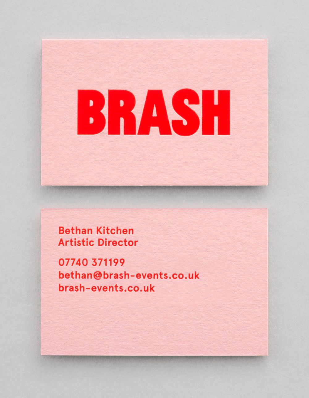 BRASH business card printed by Jot Paper Co. Red pigment foil onto Colorplan Can...