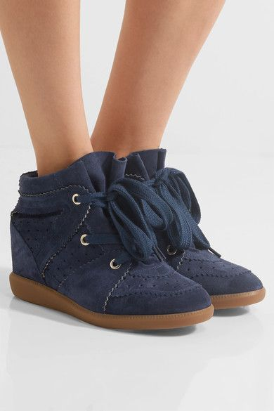 05c215d45f7b ISABEL MARANT Étoile Bobby navy suede wedge sneakers in 2019 ...