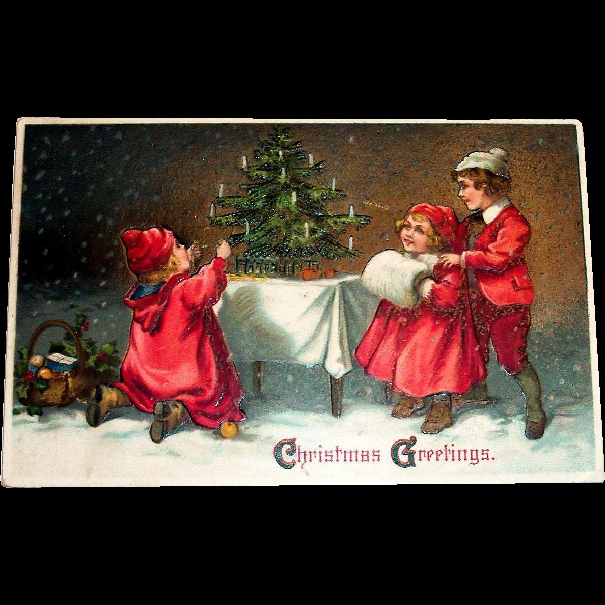 Christmas Greetings Postcard 3 Children In Red Admiring Christmas Tree