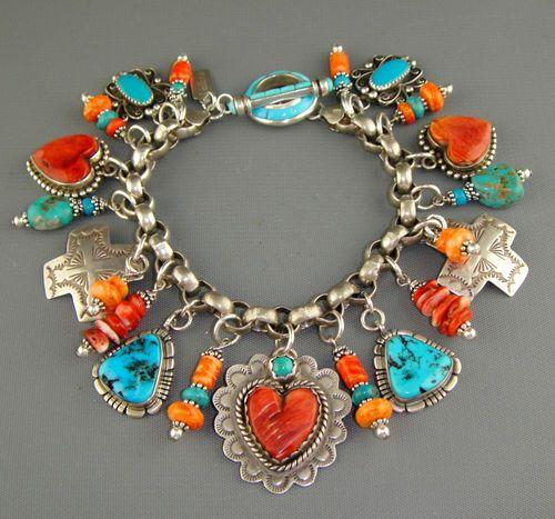 Joan Slifka Dan Dodson Turquoise Heart Charm Bracelet