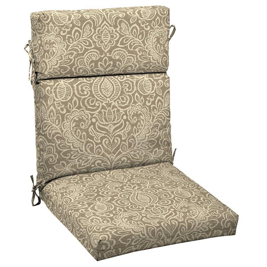 Patio High Back Chair Cushions Black And Ottoman Garden Treasures Neutral Stencil Cushion Lowe S Canada