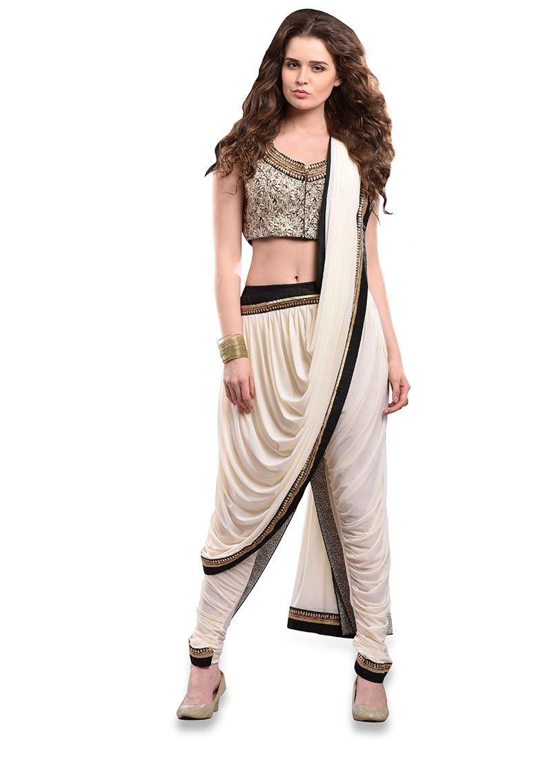Saree for fashion show cream pure chiffon indowestern dhoti style saree  fashion show