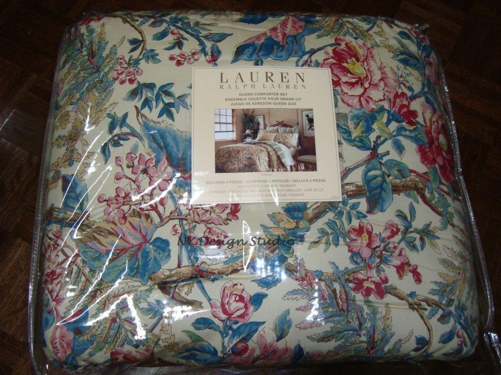 New Ralph Lauren Tangiers Floral Blue Red Pink Beige Queen