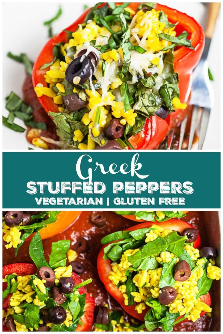 Greek Stuffed Peppers These Greek Stuffed Peppers are a great healthy vegetarian meal! They're full of Mediterranean and Italian flavors and ingredients like orzo, Kalamata olives, spinach, and feta cheese. The peppers are then baked in tomato sauce. It's a great meal for Meatless Monday! This dinner is the perfect option for clean eating. It's also gluten free!