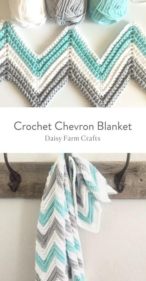Free Pattern - Crochet Chevron Blanket #hobbys
