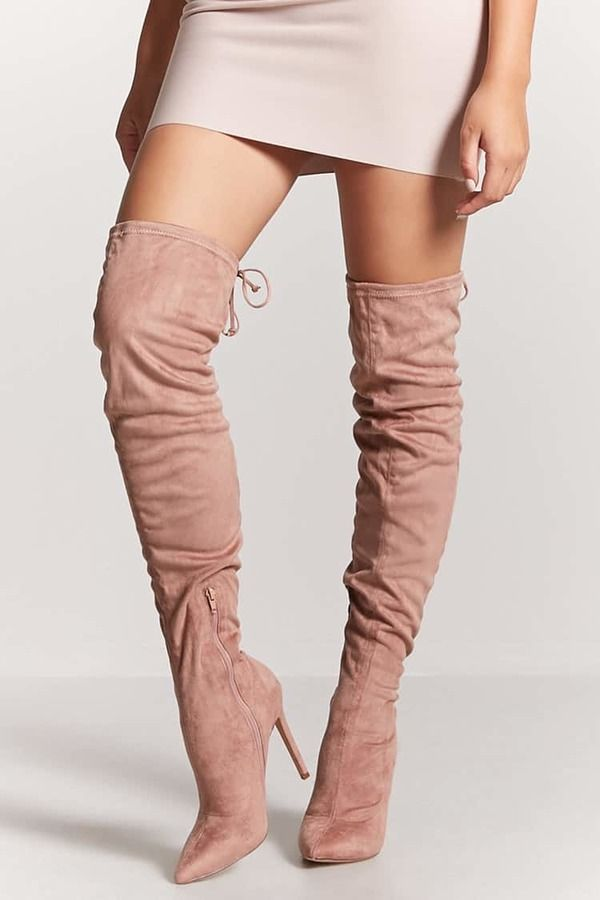 df527447af3 FOREVER 21 Faux Suede Over-the-Knee Boots fashionable Rose pink cute ...
