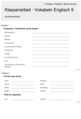 Klassenarbeit Zu Vokabeln Englisch 5 Klassenarbeiten Vokabeln Erste Klasse