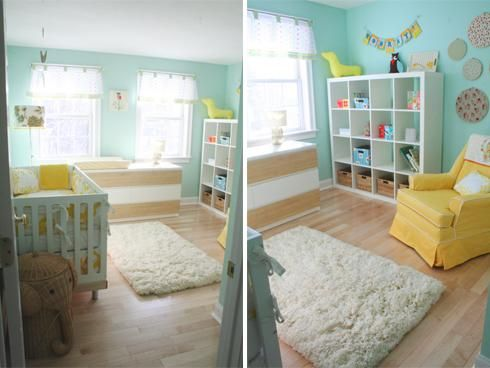 chambre d enfant jaune et bleu nursery nursery decor and room. Black Bedroom Furniture Sets. Home Design Ideas