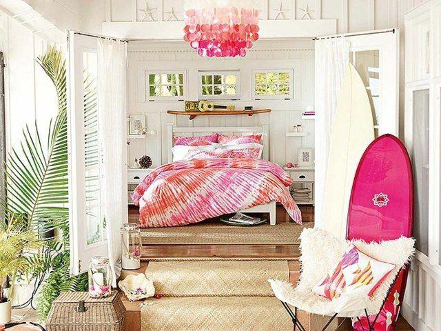 Fuchsia Farben Treppe zum Bett Mädchenzimmer Einrichtung Strandhaus ...