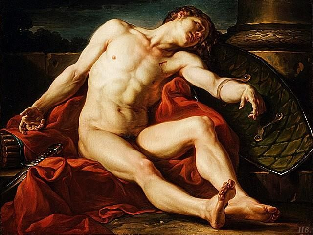 Death of a gladiator.  1773. Jean Simon Berthelemy. French. 1743-1811. http://hadrian6.tumblr.com