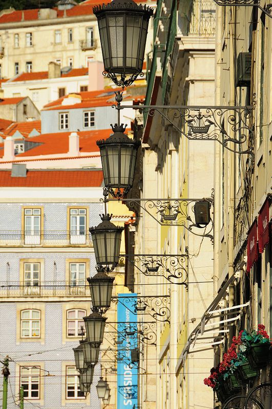 Street lamps in Baixa area. Places near Santa Catarina, one of the locations for the shooting of the film Night Train to Lisbon. Lisbon, Portugal. Photo: © Rui Rebelo via www.flickr.com/ruireb 09/April/2012
