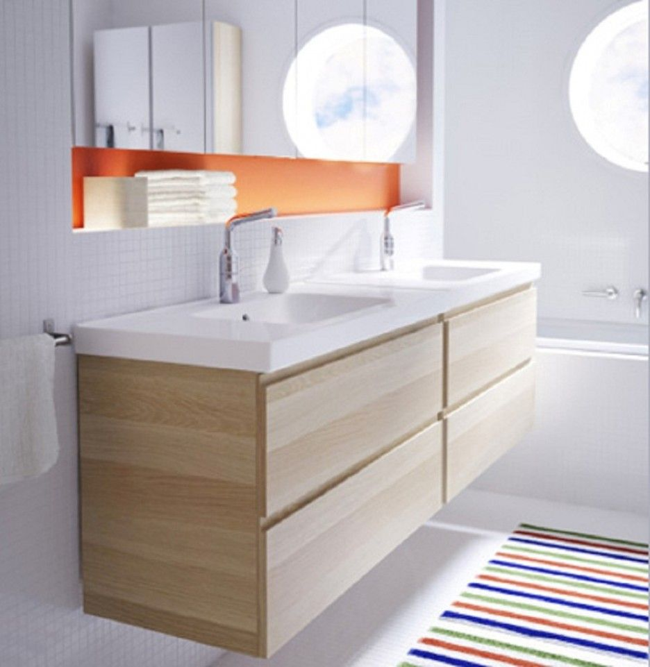 recessed shelf above sink striped rug decor paired with wooden bathroom vanity plus white sinks